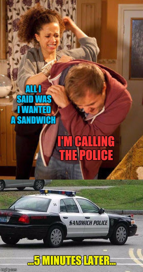 ALL I SAID WAS I WANTED A SANDWICH I'M CALLING THE POLICE ...5 MINUTES LATER... | image tagged in wife abuse,memes,make me a sandwich,sandwich police | made w/ Imgflip meme maker