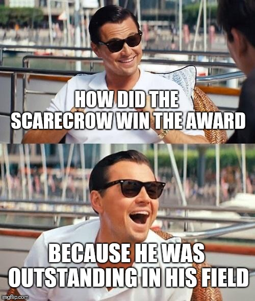 Leonardo Dicaprio Wolf Of Wall Street Meme | HOW DID THE SCARECROW WIN THE AWARD BECAUSE HE WAS OUTSTANDING IN HIS FIELD | image tagged in memes,leonardo dicaprio wolf of wall street | made w/ Imgflip meme maker