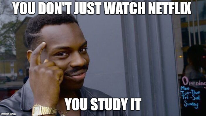 I've logged in and i see a wide variety of selections and i come to the conclusion that... | YOU DON'T JUST WATCH NETFLIX YOU STUDY IT | image tagged in memes,roll safe think about it,netflix | made w/ Imgflip meme maker