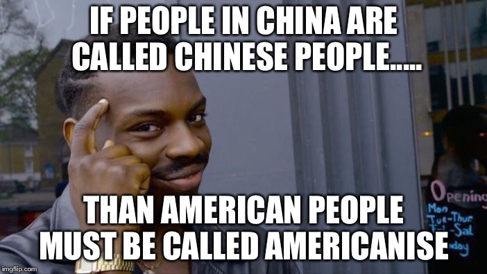Roll Safe Think About It Meme | IF PEOPLE IN CHINA ARE CALLED CHINESE PEOPLE..... THAN AMERICAN PEOPLE MUST BE CALLED AMERICANISE | image tagged in memes,roll safe think about it | made w/ Imgflip meme maker