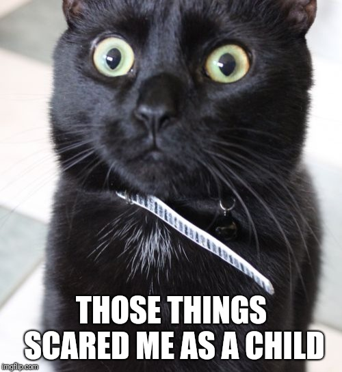 Woah Kitty Meme | THOSE THINGS SCARED ME AS A CHILD | image tagged in memes,woah kitty | made w/ Imgflip meme maker