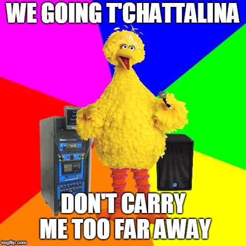 Wrong lyrics karaoke big bird | WE GOING T'CHATTALINA DON'T CARRY ME TOO FAR AWAY | image tagged in wrong lyrics karaoke big bird | made w/ Imgflip meme maker