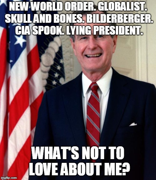 George Bush | NEW WORLD ORDER. GLOBALIST. SKULL AND BONES. BILDERBERGER. CIA SPOOK. LYING PRESIDENT. WHAT'S NOT TO LOVE ABOUT ME? | image tagged in george bush | made w/ Imgflip meme maker