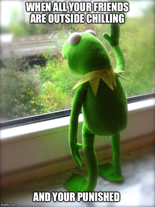 WHEN ALL YOUR FRIENDS ARE OUTSIDE CHILLING AND YOUR PUNISHED | image tagged in kermit,punished,sad,lonely,friends,none of my business | made w/ Imgflip meme maker