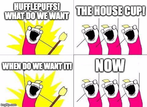 What Do We Want | HUFFLEPUFFS! WHAT DO WE WANT THE HOUSE CUP! WHEN DO WE WANT IT! NOW | image tagged in memes,what do we want | made w/ Imgflip meme maker