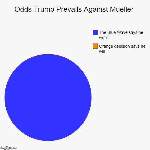 Odds Trump Prevails Against Mueller | Orange delusion says he will, The Blue Wave says he won't | image tagged in funny,pie charts | made w/ Imgflip chart maker