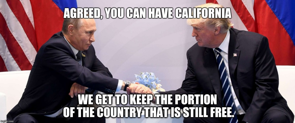 Trump and Putin cut a deal | AGREED, YOU CAN HAVE CALIFORNIA WE GET TO KEEP THE PORTION OF THE COUNTRY THAT IS STILL FREE. | image tagged in trump putin,california,usa,trump russia collusion | made w/ Imgflip meme maker