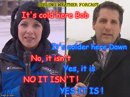 Cold News Reporter | It's cold here Bob It's colder here Dawn No, it isn't Yes, it is NO IT ISN'T ! YES IT IS ! SIBLING WEATHER FORCAST | image tagged in cold news reporter | made w/ Imgflip meme maker