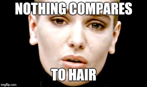 Nothing sinead | NOTHING COMPARES TO HAIR | image tagged in nothing sinead | made w/ Imgflip meme maker