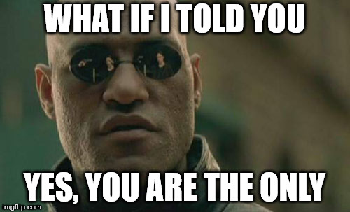 Matrix Morpheus Meme | WHAT IF I TOLD YOU YES, YOU ARE THE ONLY | image tagged in memes,matrix morpheus | made w/ Imgflip meme maker