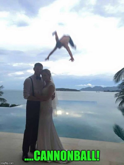 Wedding fail or cannonball fail? | ....CANNONBALL! | image tagged in wedding pic | made w/ Imgflip meme maker