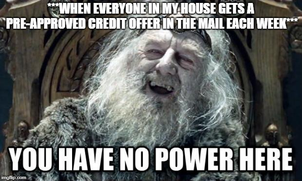 Most physical mail is pointless | ***WHEN EVERYONE IN MY HOUSE GETS A PRE-APPROVED CREDIT OFFER IN THE MAIL EACH WEEK*** | image tagged in you have no power here,credit card,mail,garbage,lord of the rings,scam | made w/ Imgflip meme maker