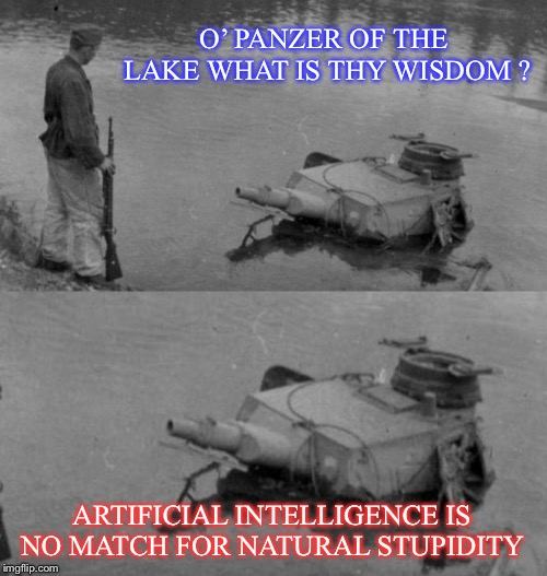 Panzer of the lake.. knows how he got there. | O' PANZER OF THE LAKE WHAT IS THY WISDOM ? ARTIFICIAL INTELLIGENCE IS NO MATCH FOR NATURAL STUPIDITY | image tagged in panzer of the lake,stupid people,machines cant predict us,funny,default win | made w/ Imgflip meme maker