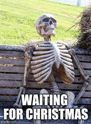 Waiting For Christmas Be Like | WAITING FOR CHRISTMAS | image tagged in memes,waiting skeleton,waiting,christmas,skeleton,funny | made w/ Imgflip meme maker