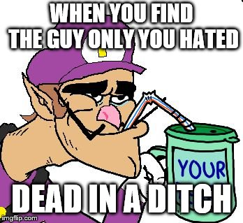 Waluigi Drinking Tears |  WHEN YOU FIND THE GUY ONLY YOU HATED; DEAD IN A DITCH | image tagged in waluigi drinking tears | made w/ Imgflip meme maker