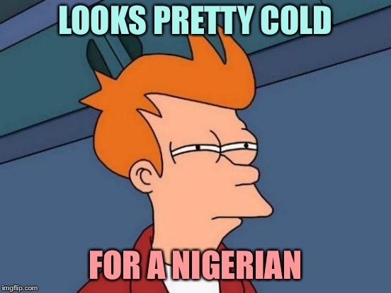 Futurama Fry Meme | LOOKS PRETTY COLD FOR A NIGERIAN | image tagged in memes,futurama fry | made w/ Imgflip meme maker