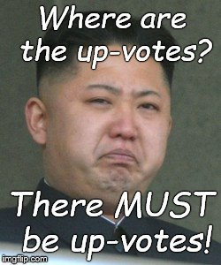 Kim Jong Unhappy | Where are the up-votes? There MUST be up-votes! | image tagged in kim jong unhappy | made w/ Imgflip meme maker