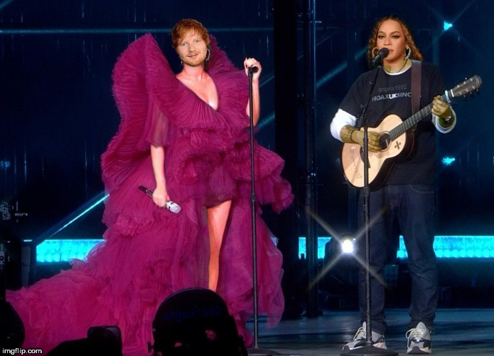 EdYonce  A debate on the clothes Es Sheeran wore to a Global Citizen Festival honoring Nelson Mandela | image tagged in beyonce,ed sheeran,nelson mandela,clothes,concert,debate | made w/ Imgflip meme maker