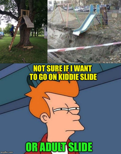 Either way, it should be recorded. | NOT SURE IF I WANT TO GO ON KIDDIE SLIDE OR ADULT SLIDE | image tagged in memes,futurama fry,slide,funny | made w/ Imgflip meme maker