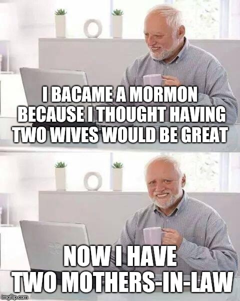 The REAL punishment for bigamy: | I BACAME A MORMON BECAUSE I THOUGHT HAVING TWO WIVES WOULD BE GREAT NOW I HAVE TWO MOTHERS-IN-LAW | image tagged in memes,hide the pain harold,mormons,bigamy,mother-in-law jokes,sister wives | made w/ Imgflip meme maker