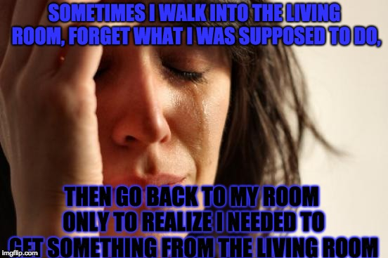 I swear sometimes my brain likes to tease my into forgetting |  SOMETIMES I WALK INTO THE LIVING ROOM, FORGET WHAT I WAS SUPPOSED TO DO, THEN GO BACK TO MY ROOM ONLY TO REALIZE I NEEDED TO GET SOMETHING FROM THE LIVING ROOM | image tagged in memes,first world problems,can you relate,makes a second trip to the living roon,sigh | made w/ Imgflip meme maker