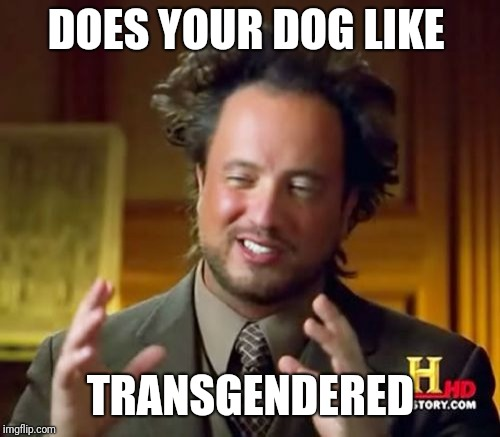 Ancient Aliens Meme | DOES YOUR DOG LIKE TRANSGENDERED | image tagged in memes,ancient aliens | made w/ Imgflip meme maker
