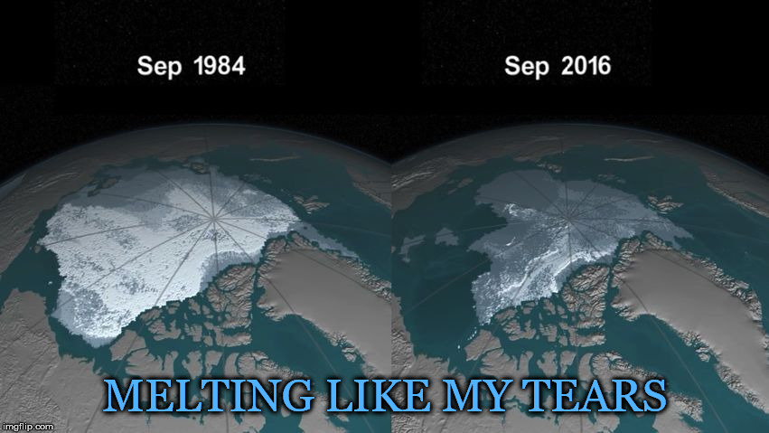 All The Cognitive Dissonance In The World Won't Make It Go Away... | MELTING LIKE MY TEARS | image tagged in arctic,polar ice caps,timelapse,global warming,climate change,extinction | made w/ Imgflip meme maker