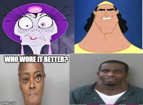 WHO WORE IT BETTER? | image tagged in neck guy,eyelash woman,emporer's new groove,who wore it better | made w/ Imgflip meme maker