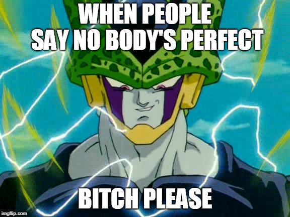 Dragon Ball Z Perfect Cell | WHEN PEOPLE SAY NO BODY'S PERFECT B**CH PLEASE | image tagged in dragon ball z perfect cell | made w/ Imgflip meme maker