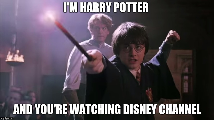 Harry Potter | I'M HARRY POTTER AND YOU'RE WATCHING DISNEY CHANNEL | image tagged in harry potter | made w/ Imgflip meme maker