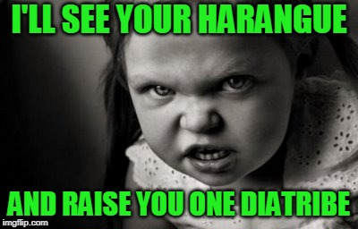 Shouting Match | I'LL SEE YOUR HARANGUE AND RAISE YOU ONE DIATRIBE | image tagged in alice malice | made w/ Imgflip meme maker