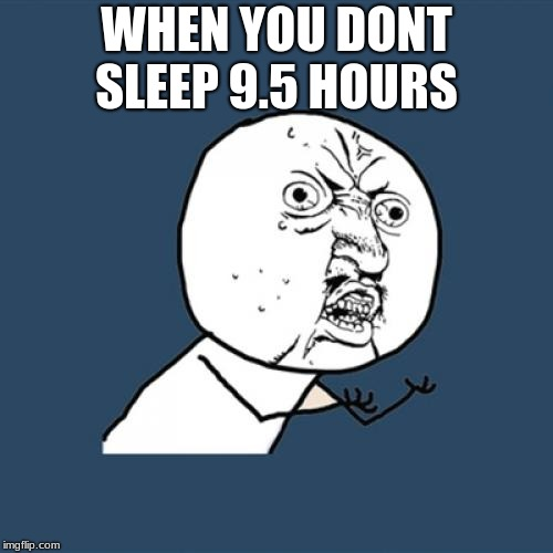 Y U No Meme | WHEN YOU DONT SLEEP 9.5 HOURS | image tagged in memes,y u no | made w/ Imgflip meme maker