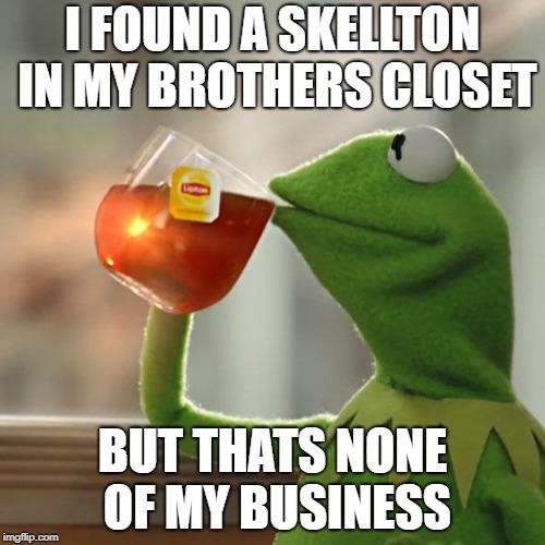 But Thats None Of My Business Meme | I FOUND A SKELLTON IN MY BROTHERS CLOSET BUT THATS NONE OF MY BUSINESS | image tagged in memes,but thats none of my business,kermit the frog | made w/ Imgflip meme maker