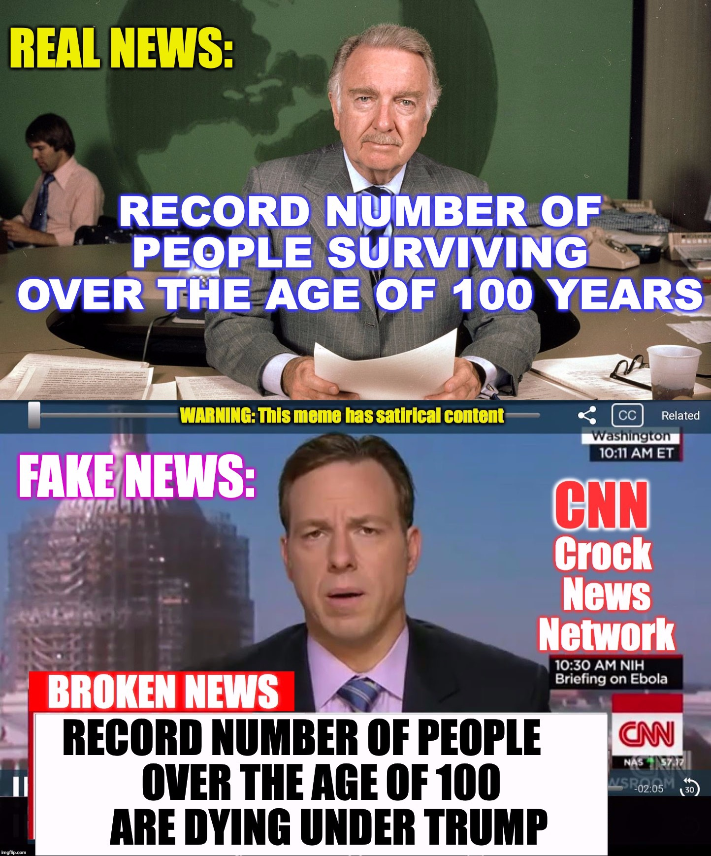 'Upvote' if you see that the 2 headlines are basically saying the same thing (Comment, if you can explain). | V | image tagged in real news network,cnn fake news | made w/ Imgflip meme maker