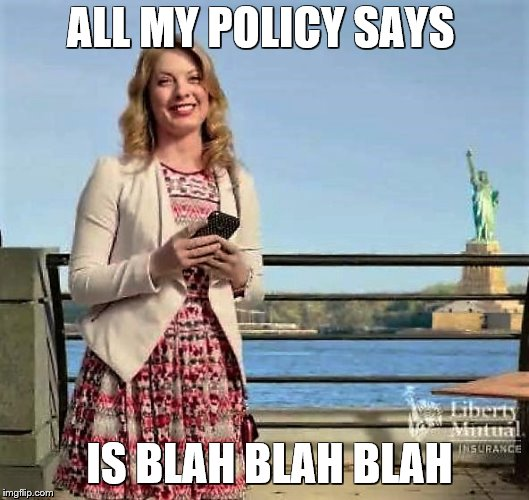 ALL MY POLICY SAYS IS BLAH BLAH BLAH | made w/ Imgflip meme maker