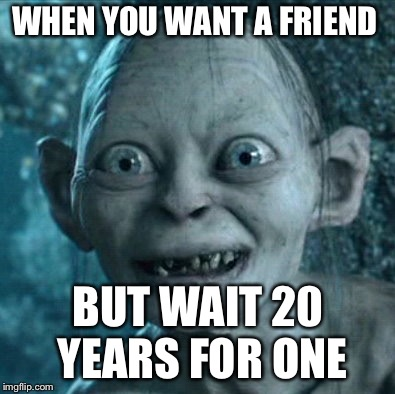 Gollum Meme | WHEN YOU WANT A FRIEND BUT WAIT 20 YEARS FOR ONE | image tagged in memes,gollum | made w/ Imgflip meme maker