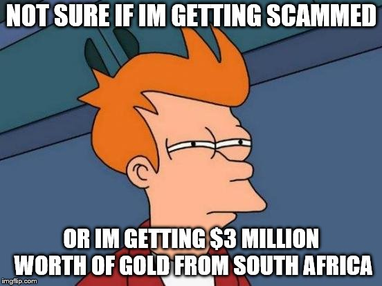 Junk Emails | NOT SURE IF IM GETTING SCAMMED OR IM GETTING $3 MILLION WORTH OF GOLD FROM SOUTH AFRICA | image tagged in memes,futurama fry | made w/ Imgflip meme maker