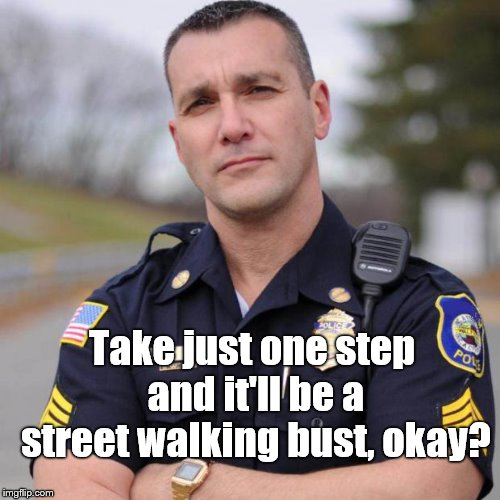 Cop | Take just one step and it'll be a street walking bust, okay? | image tagged in cop | made w/ Imgflip meme maker