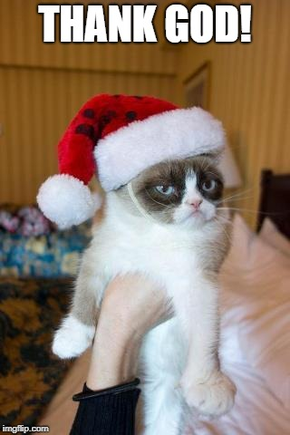 Grumpy Cat Christmas Meme | THANK GOD! | image tagged in memes,grumpy cat christmas,grumpy cat,oil | made w/ Imgflip meme maker