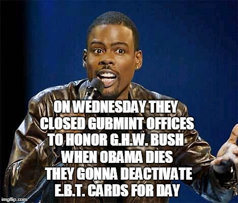 I can hear him saying this... | ON WEDNESDAY THEY CLOSED GUBMINT OFFICES TO HONOR G.H.W. BUSH WHEN OBAMA DIES THEY GONNA DEACTIVATE E.B.T. CARDS FOR DAY | image tagged in chris rock,george bush,obama,ebt,george h w bush,memes | made w/ Imgflip meme maker