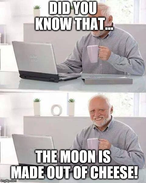 Hide the Pain Harold Meme | DID YOU KNOW THAT... THE MOON IS MADE OUT OF CHEESE! | image tagged in memes,hide the pain harold | made w/ Imgflip meme maker