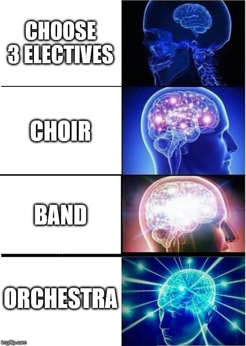 Expanding Brain Meme | CHOOSE 3 ELECTIVES CHOIR BAND ORCHESTRA | image tagged in memes,expanding brain | made w/ Imgflip meme maker