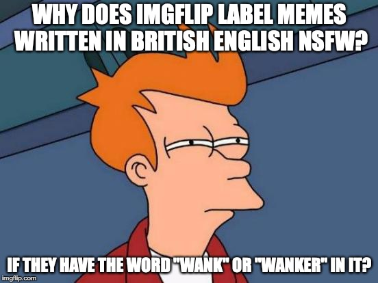 "Memes Written in non-American English | WHY DOES IMGFLIP LABEL MEMES WRITTEN IN BRITISH ENGLISH NSFW? IF THEY HAVE THE WORD ""WANK"" OR ""WANKER"" IN IT? 