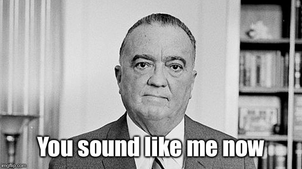 J. Edgar Hoover | You sound like me now | image tagged in j edgar hoover | made w/ Imgflip meme maker