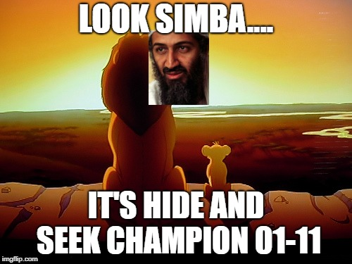 Lion King Meme | LOOK SIMBA.... IT'S HIDE AND SEEK CHAMPION 01-11 | image tagged in memes,lion king | made w/ Imgflip meme maker