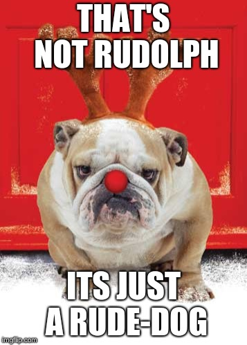 Christmas Hound |  THAT'S NOT RUDOLPH; ITS JUST A RUDE-DOG | image tagged in christmas hound | made w/ Imgflip meme maker