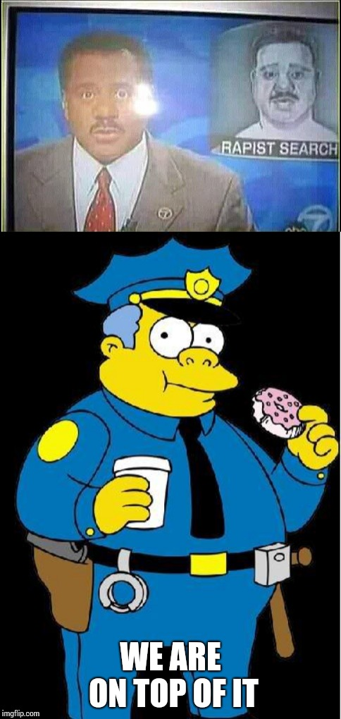 I hope they find that guy | WE ARE ON TOP OF IT | image tagged in chief wiggum,newscaster,reporter,news,pipe_picasso | made w/ Imgflip meme maker