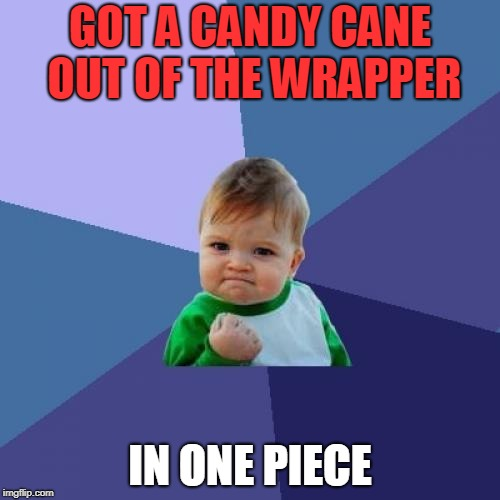 Booyah | GOT A CANDY CANE OUT OF THE WRAPPER IN ONE PIECE | image tagged in memes,success kid,candy cane,christmas | made w/ Imgflip meme maker