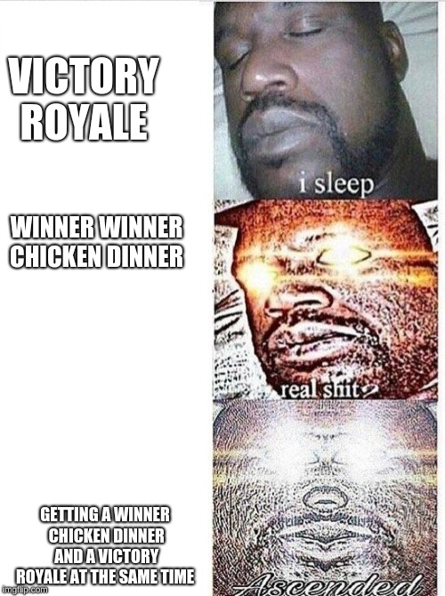 I sleep meme with ascended template | WINNER WINNER CHICKEN DINNER GETTING A WINNER CHICKEN DINNER AND A VICTORY ROYALE AT THE SAME TIME VICTORY ROYALE | image tagged in i sleep meme with ascended template | made w/ Imgflip meme maker