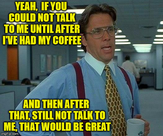Silence Would Be Great | YEAH,  IF YOU COULD NOT TALK TO ME UNTIL AFTER I'VE HAD MY COFFEE AND THEN AFTER THAT, STILL NOT TALK TO ME, THAT WOULD BE GREAT | image tagged in memes,that would be great,coffee,silence | made w/ Imgflip meme maker